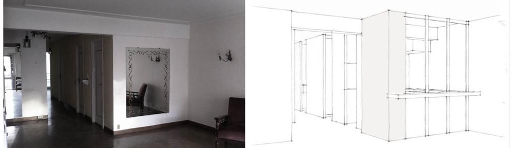 Etude de Faisabilité, recomposition partielle d'un appartement, insertion d'une nouvelle cuisine