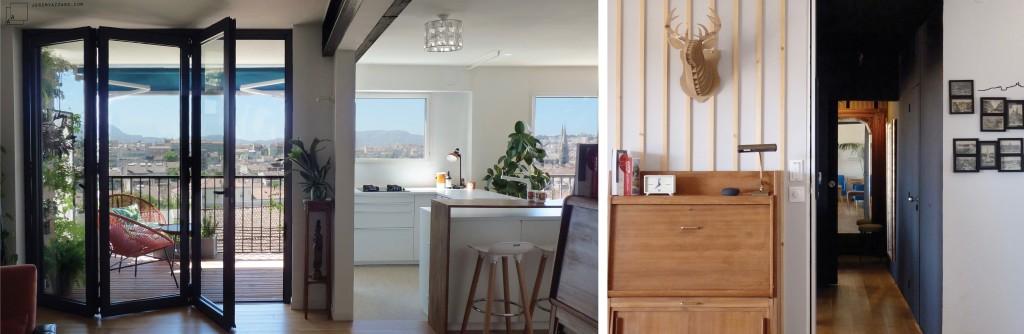 Réception : transformation d'un appartement année 70 en loft ouvert sur la ville
