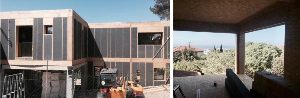 Chantier : Construction d'une maison contemporaine en ossature légère entre les pins et vue mer