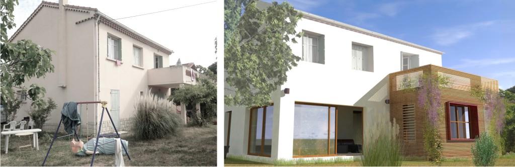 Etude : extension contemporaine d'une maison des années 60,