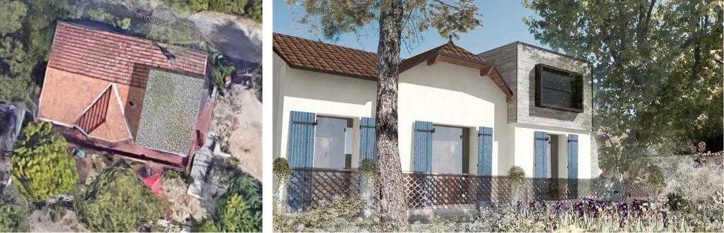 Etude : rénovation d'une maison marseillaise avec extension contemporaine en ossature bois
