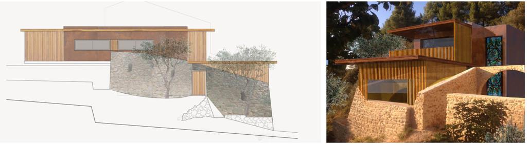 Concours d'idée : greffe contemporaine en ossature bois sur une ancienne bergerie en pierres