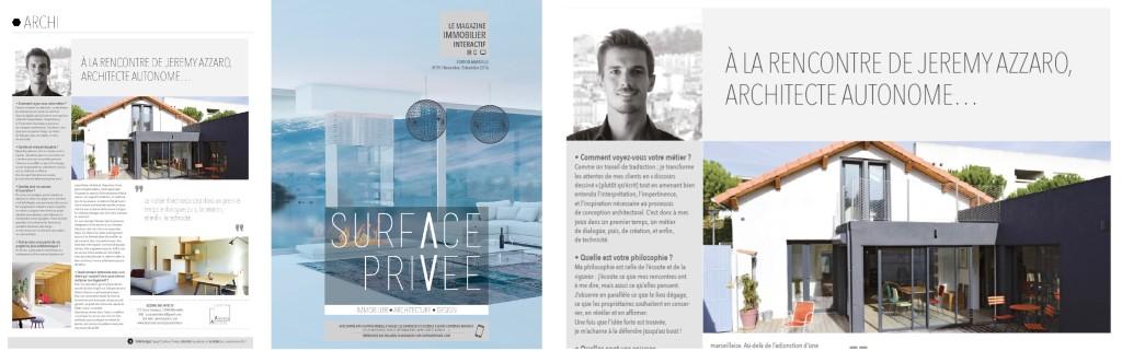 Evénement : parution d'un article dans le magazine Surface Privée, immobilier, architecture, design