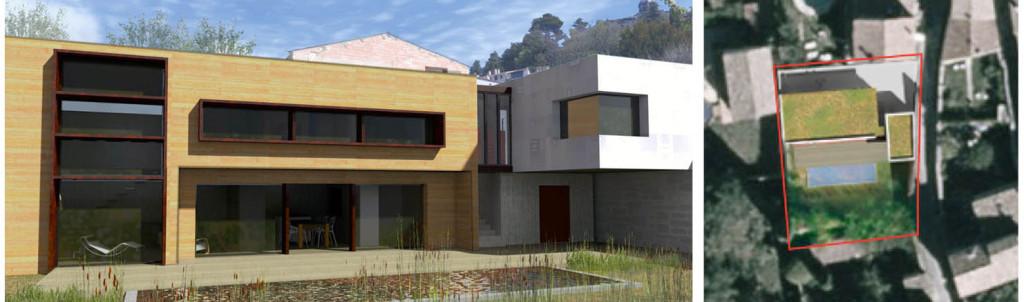 Concours d'idées : conception d'une maison contemporaine avec Ateliers et espaces extérieurs