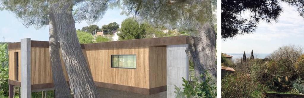 Etude : Création d'une maison contemporaine résidence d'artiste, entre les pins et vue mer