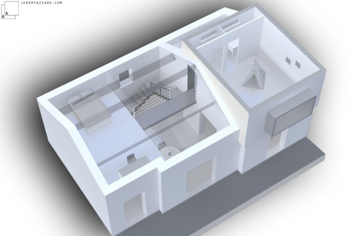 maquette-architecte-maison-extension-bois-mezzanine-passerelle-azzaro-jeremy