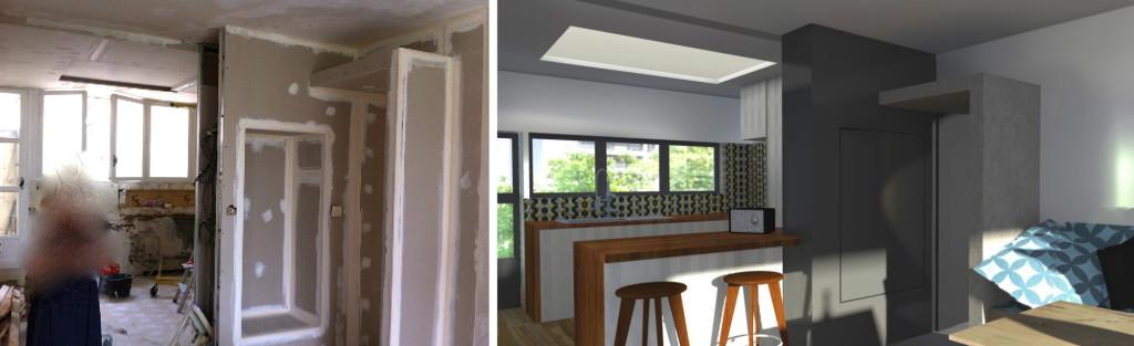 Chantier : réaménagement d'un appartement dans un immeuble des années 70