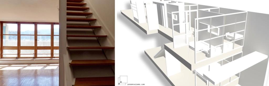 Livraison : transformation d'un appartement de l'unité d'habitation de Marseille, Le Corbusier,