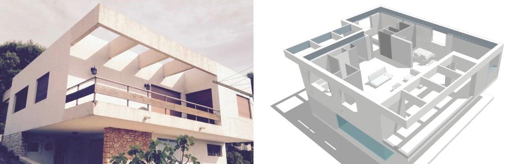 Esquisse : rénovation d'une maison des années 60 en bord de mer