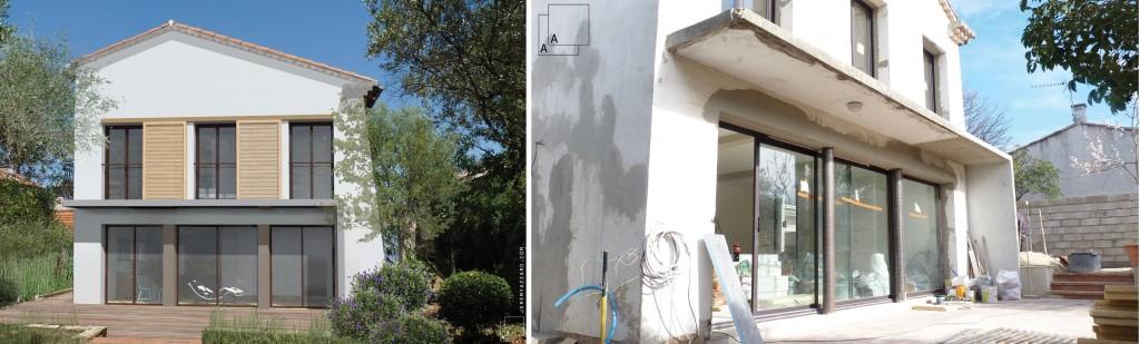 Chantier : restructuration et recomposition d'un villa de 140m2,