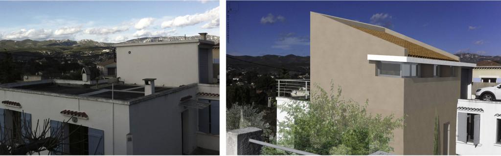 Etude : surélévation d'une maison pour la création d'une suite parentale avec terrasse