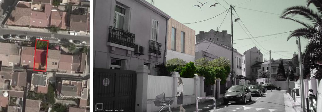Etude : surélévation en ossature bois d'une maison de ville marseillaise